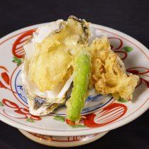 厚岸産生牡蠣と舞茸キノコの天ぷら